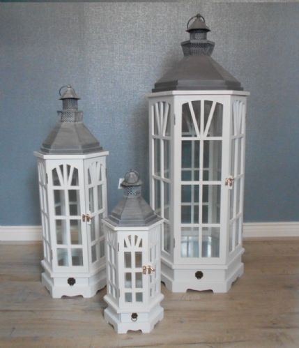 White Hexagon Lanterns With Drawers (Set Of 3)